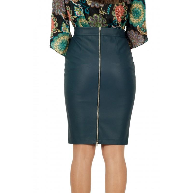 Тъмно зелена дамска кожена пола до коляното с цип за..